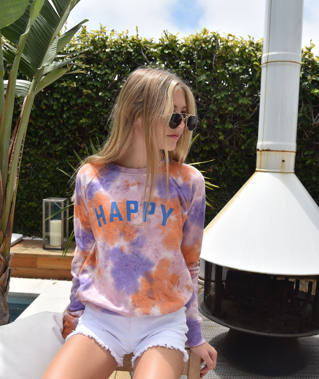 Spiritual Gangster Girls Happy Tie-Dye Crew Sweatshirt