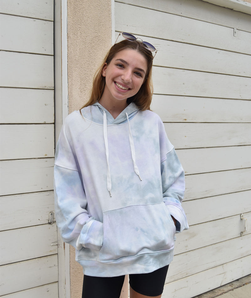Cloud Nine Women Periwinkle Tie-Dye Hooded Sweatshirt