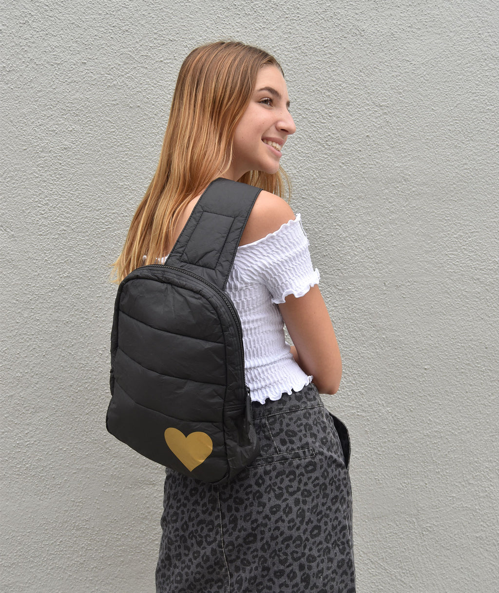 HI Love Travel Puffer Crossbody Backpack Black With Gold Heart