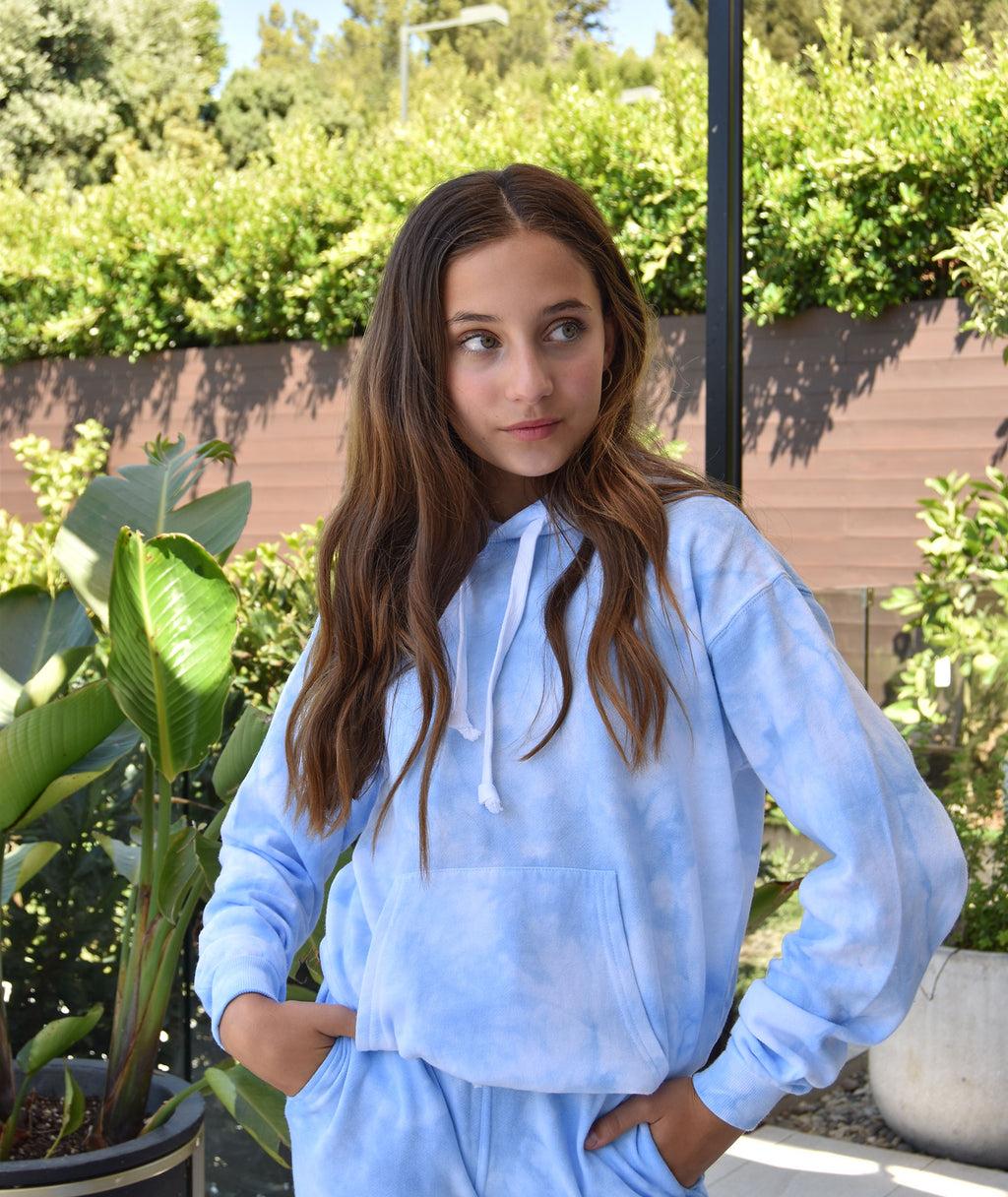Katie J NYC Girls Baby Blue Cloud Boyfriend Hoodie