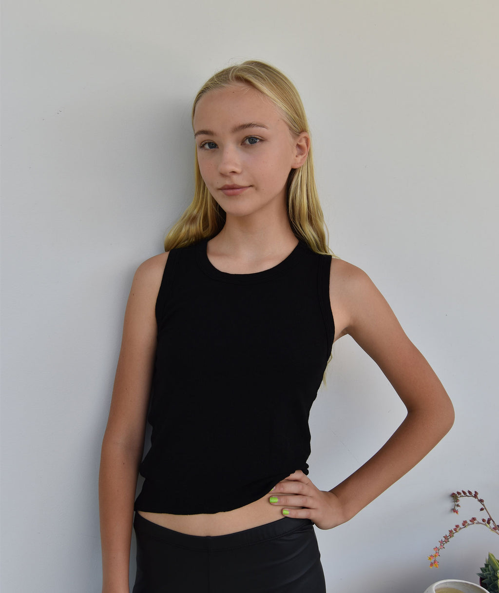 T2 Love Girls Asymmetrical Hem Black Tank