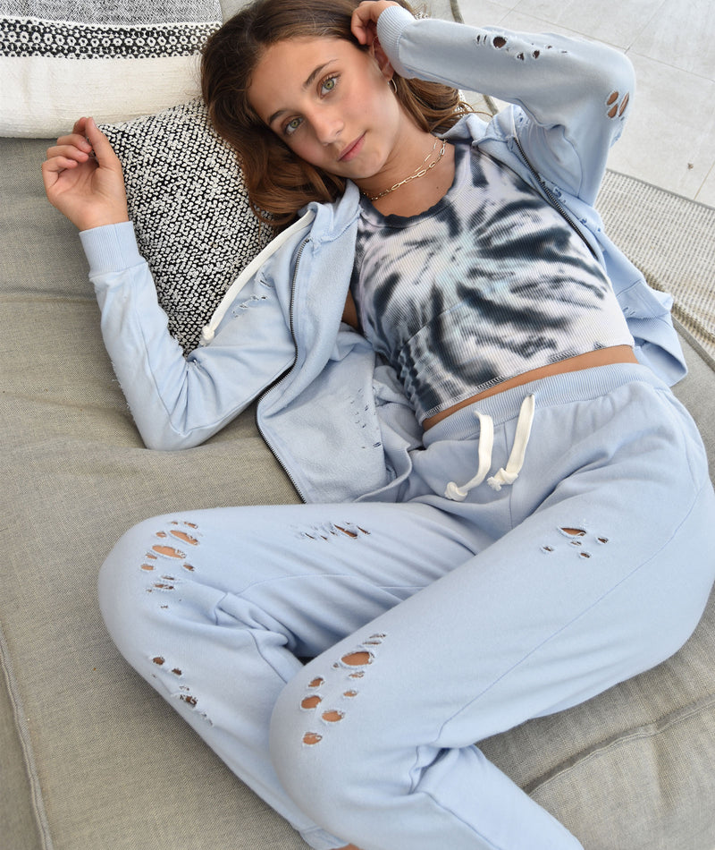Katie J NYC Girls Reggie Periwinkle Ripped Sweatpants