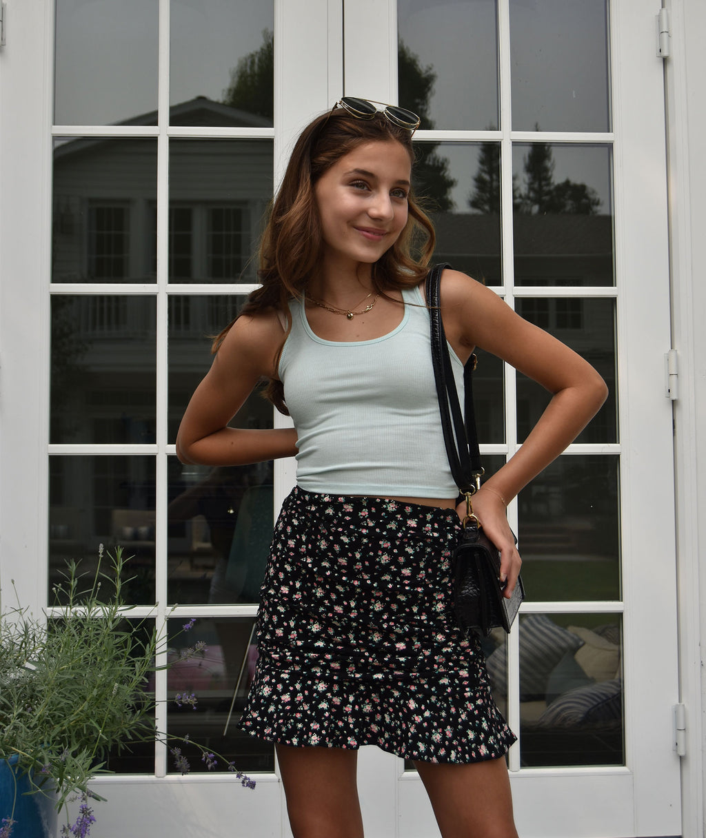 Katie J NYC Girls Aspen Ditsy Floral Mini Skirt