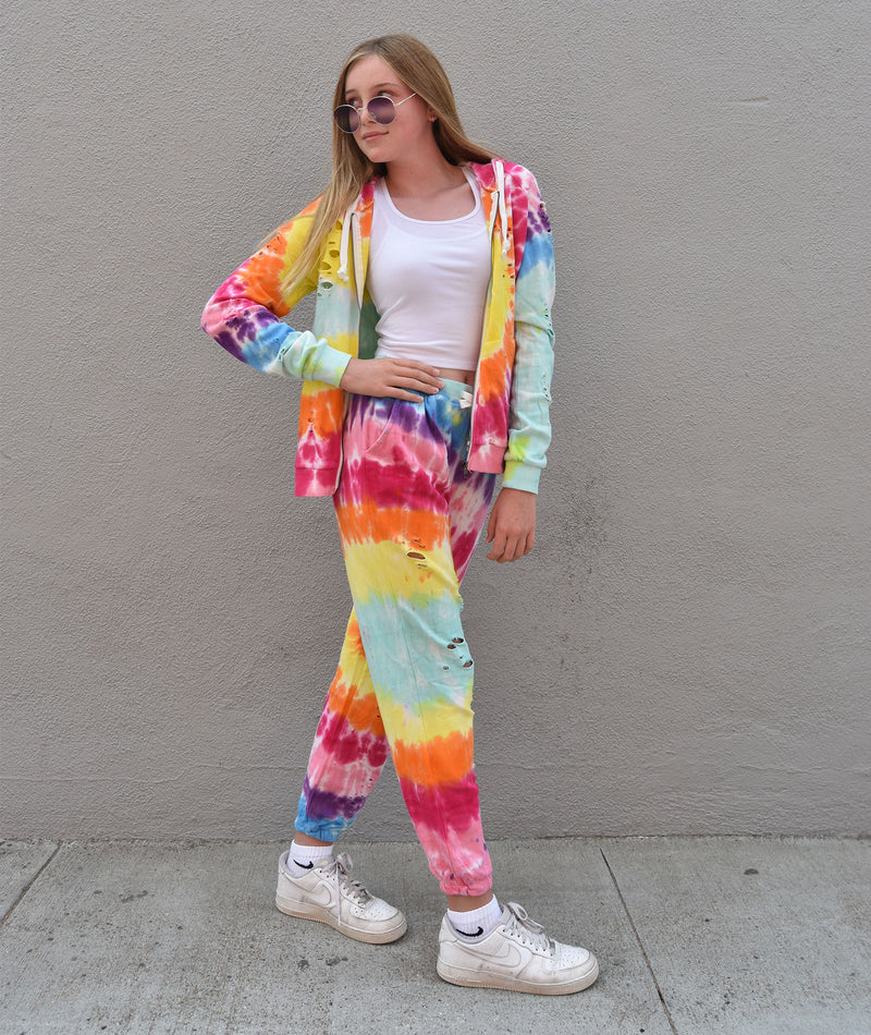 Katie J Juniors Reggie Primary Tie Dye Rip Sweatpants