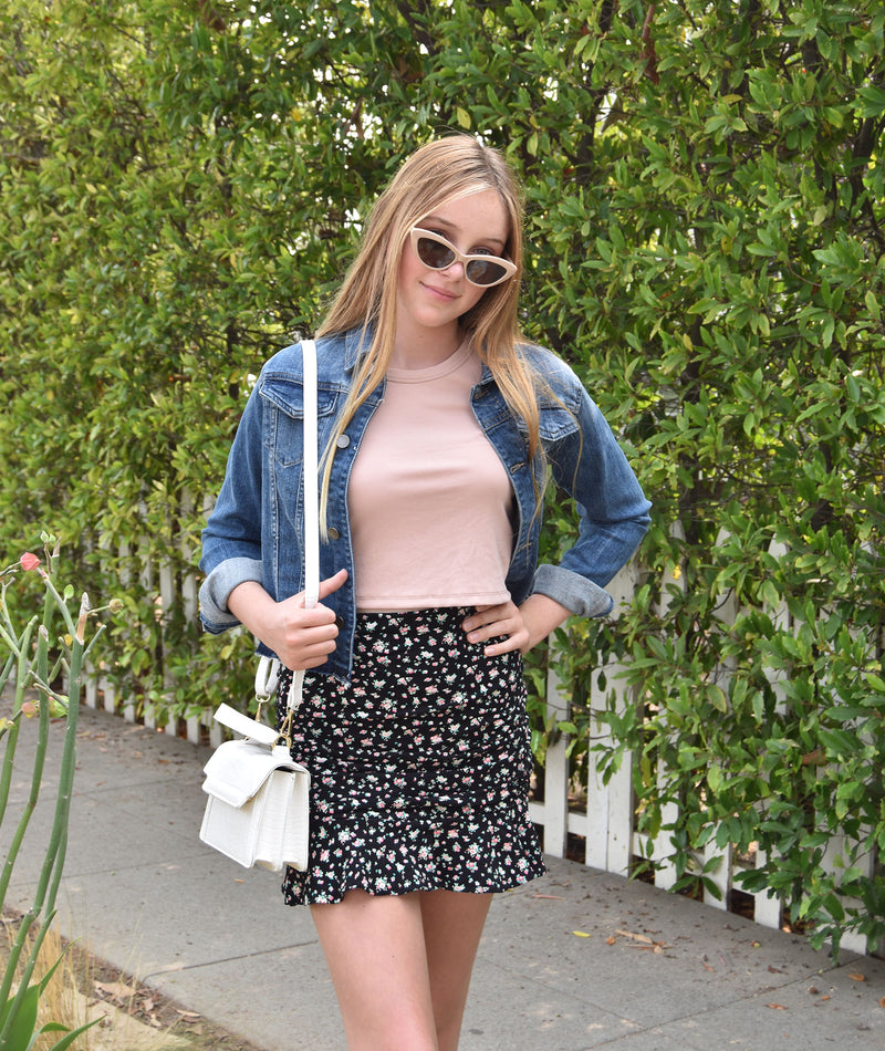Katie J NYC Juniors Aspen Ditsy Floral Mini Skirt