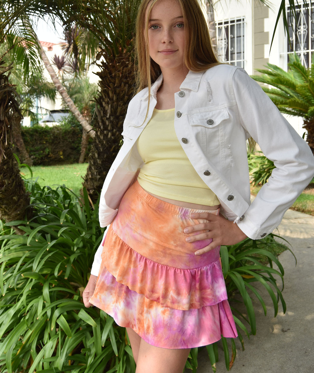 Cheryl Creations Juniors Pink Tie-Dye Skirt