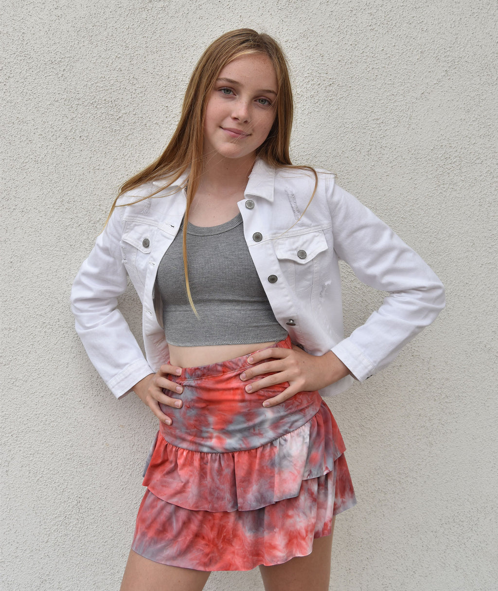 Cheryl Creations Juniors Orange Tie-Dye Skirt