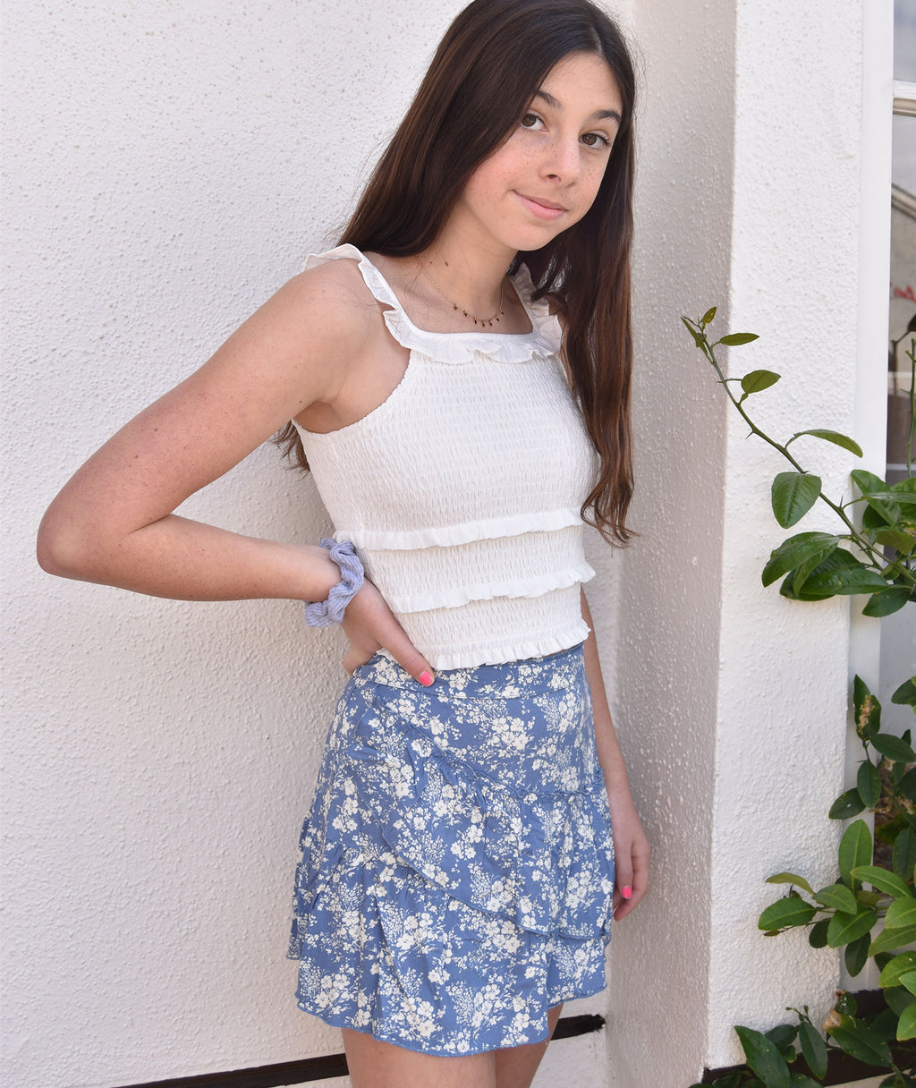 Me.n.u. Girls Blue Floral Ruffle Skirt