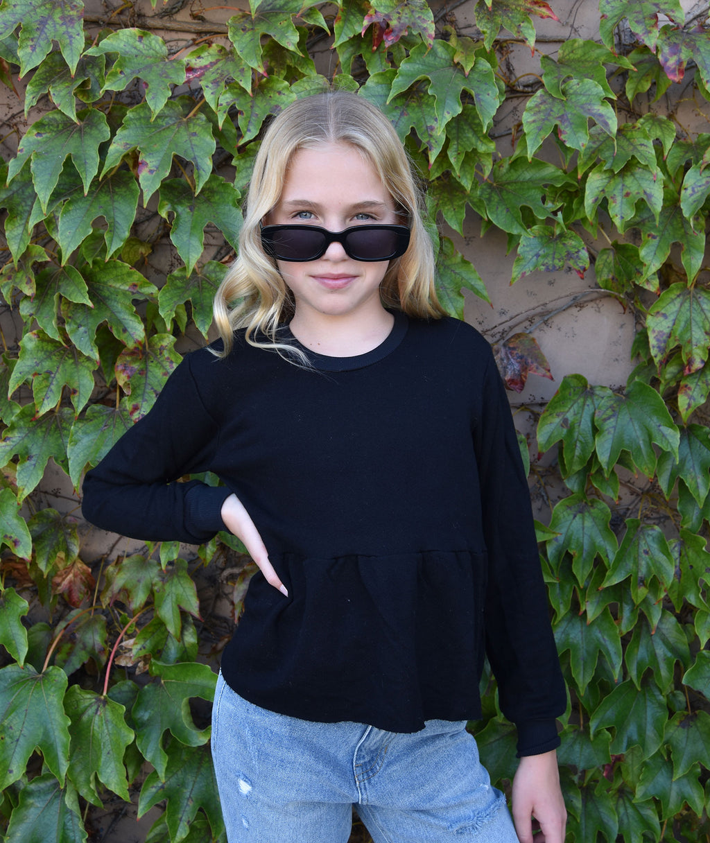 Me.n.u Girls Black Peplum Sweatshirt