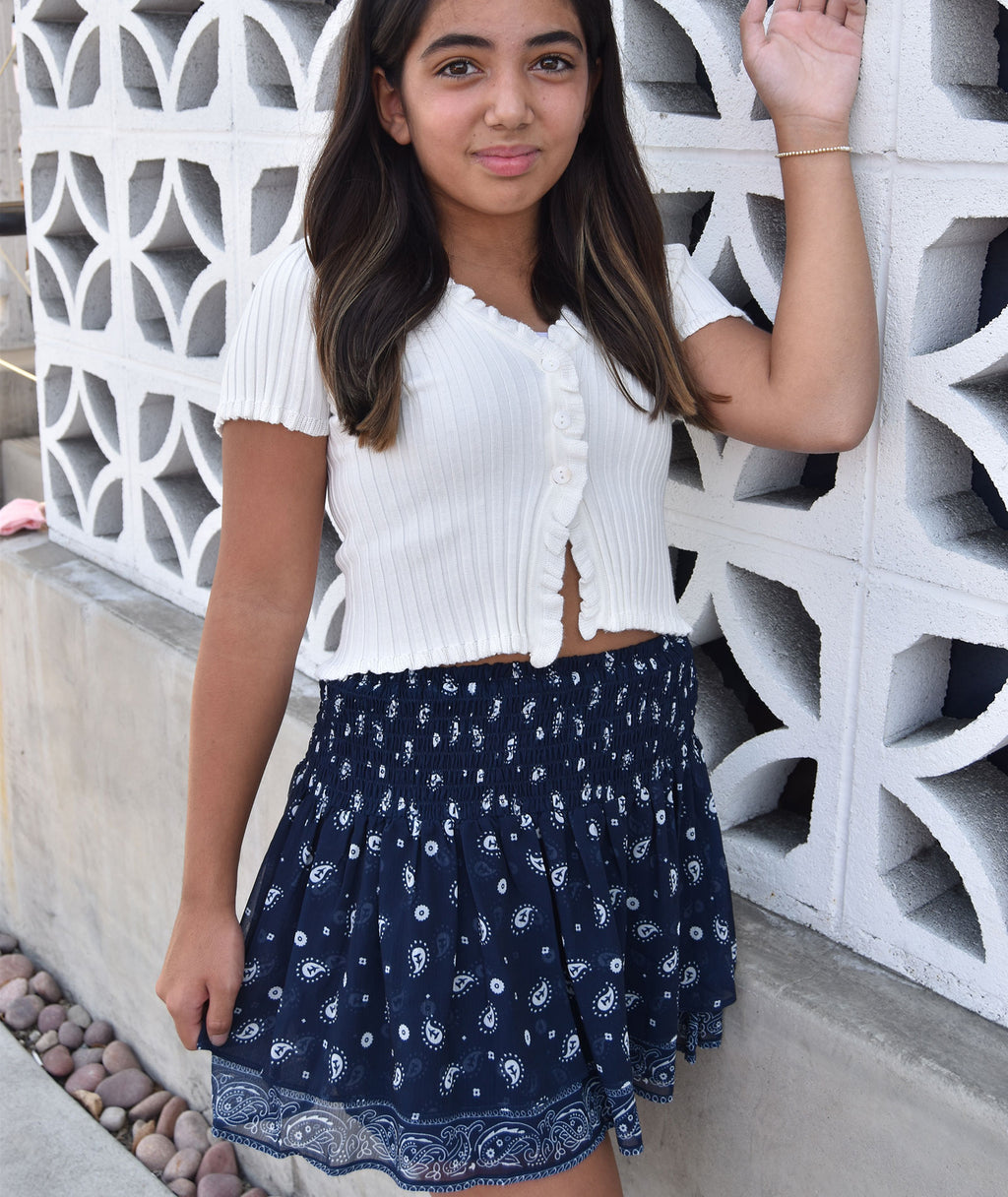 8apart Ruth Navy Bandana Skirt