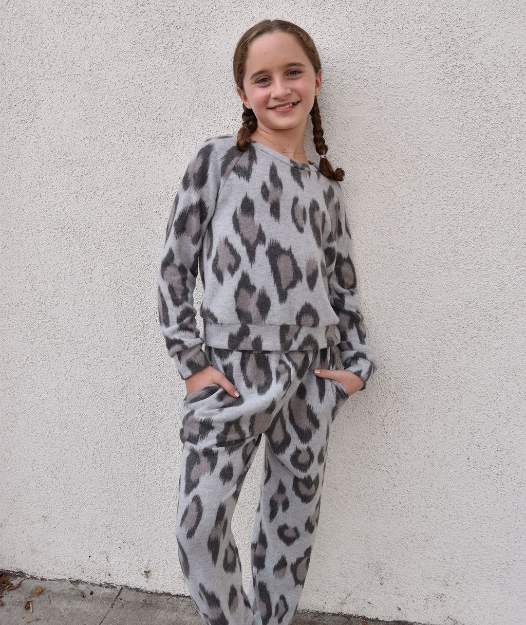 For All Seasons Girls Leopard Print Sweater