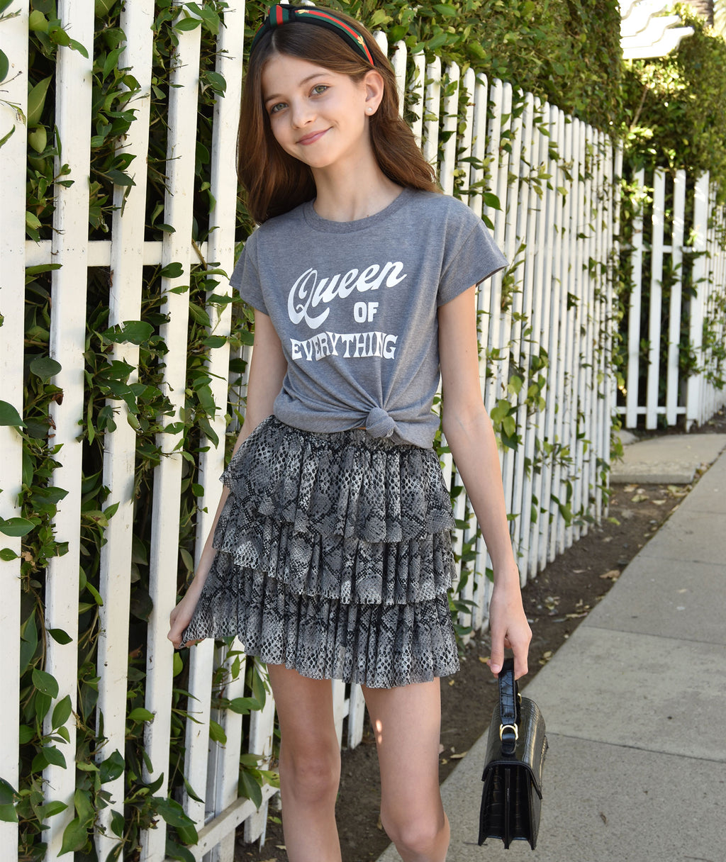 Me.n.u Girls Grey Triple Tiered Skirt