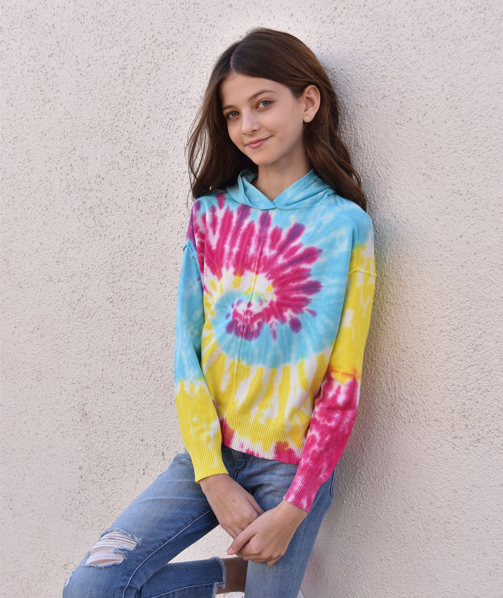 Central Park West Girls Pink and Yellow Tie-Dye Sweater