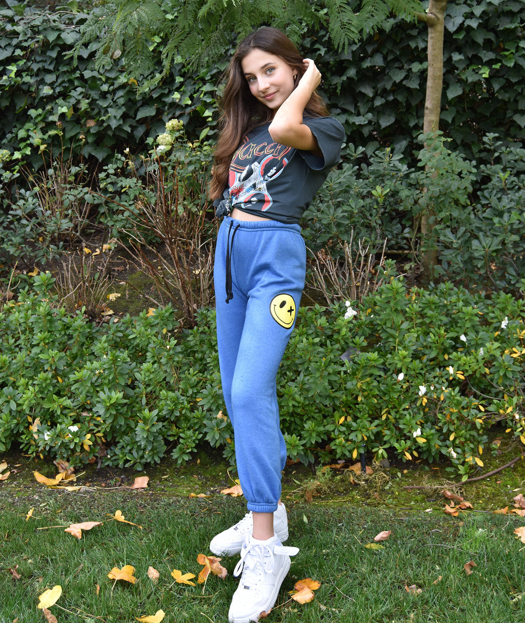 Love Junkie Girls Supersoft Puff Smile Blue Sweatpants