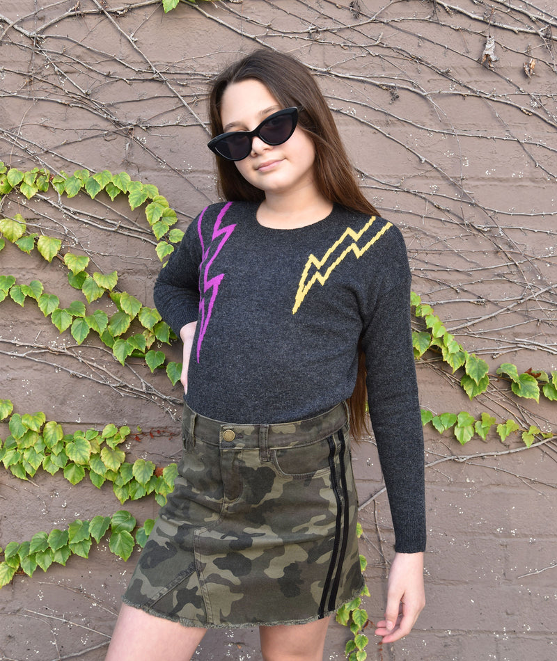 Autumn Cashmere Girls Charcoal Razzle Lightning Bolt Sweater