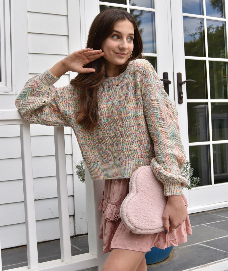 Charlotte Multi Pink Puff Sleeve Sweater Women