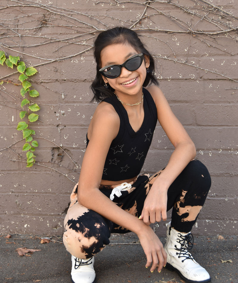 Katie J NYC Girls Reggie Black Bleached Ripped Sweatpants