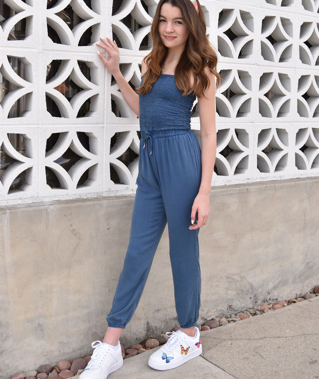 Vintage Havana Girls Chambray Jumpsuit