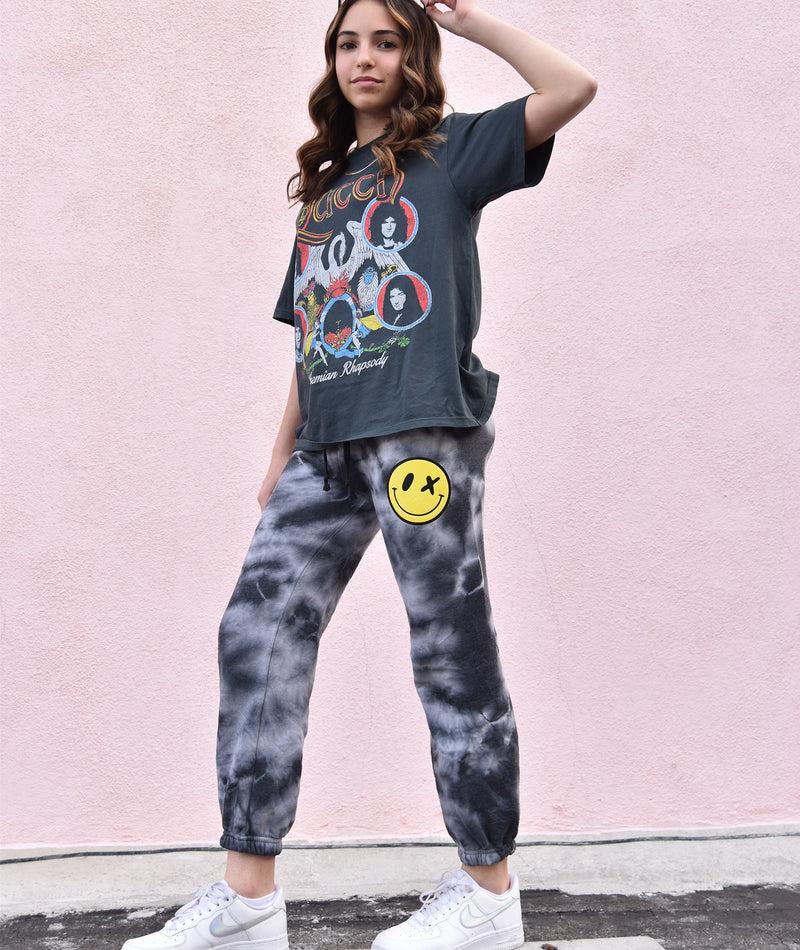 Love Junkie Girls Supersoft Black Tie-Dye Puff Smile Sweatpants