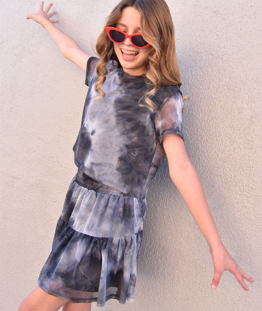 By Debra Girls Black Tie Dye Ruffle Skirt