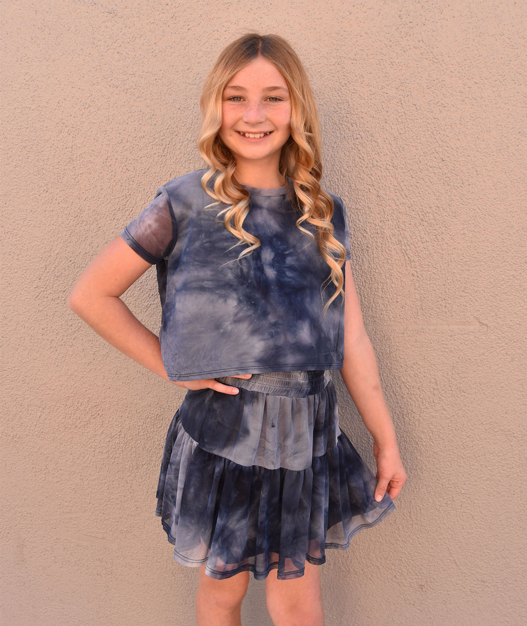 By Debra Girls Navy Tie Dye Ruffle Skirt