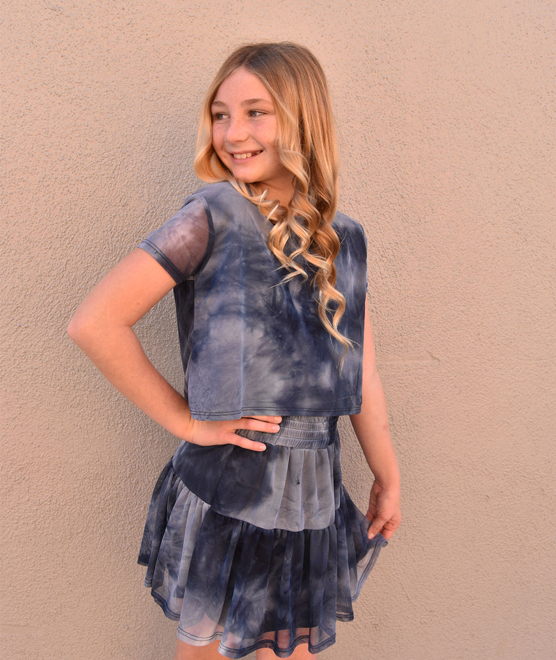 By Debra Girls Navy Tie Dye Mesh Crop Top