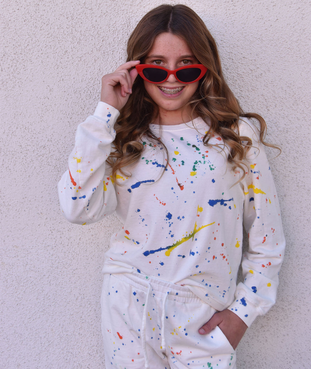 Sub_Urban Riot Girls Splatter Paint Antique White Selena Sweatshirt