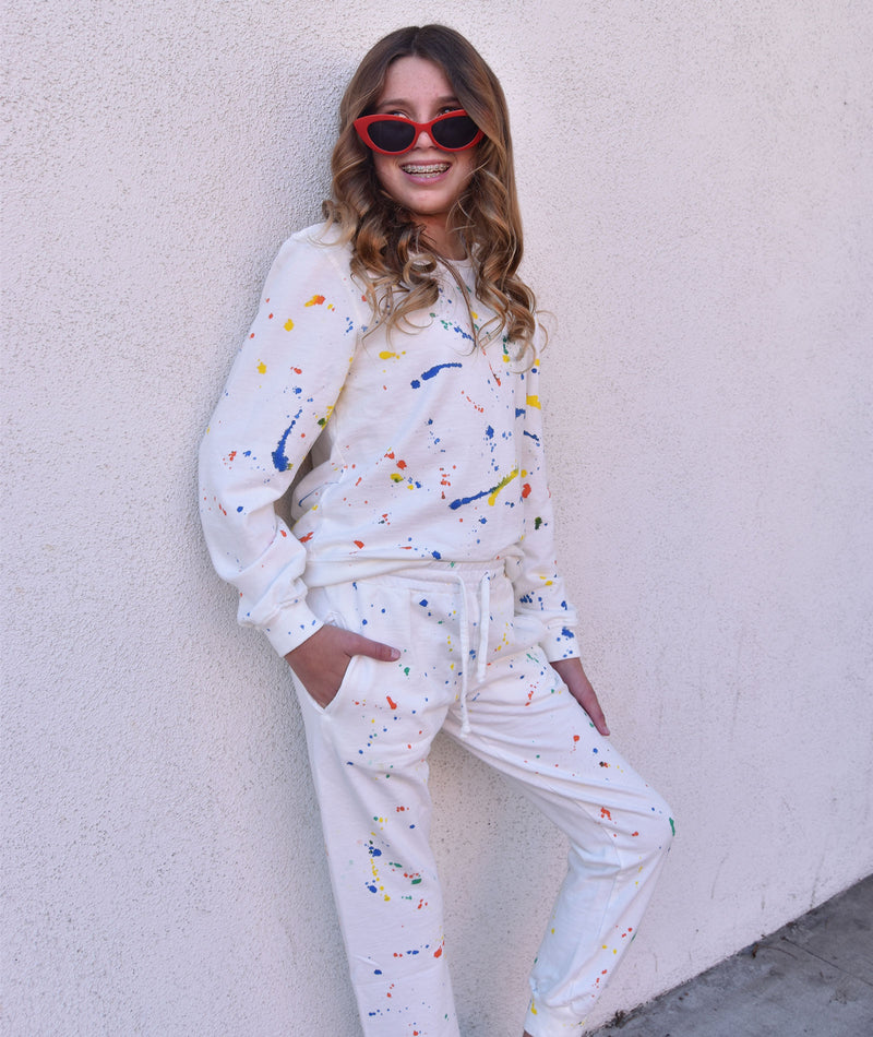 Sub_Urban Riot Girls Splatter Paint Antique White Millie Sweatpants
