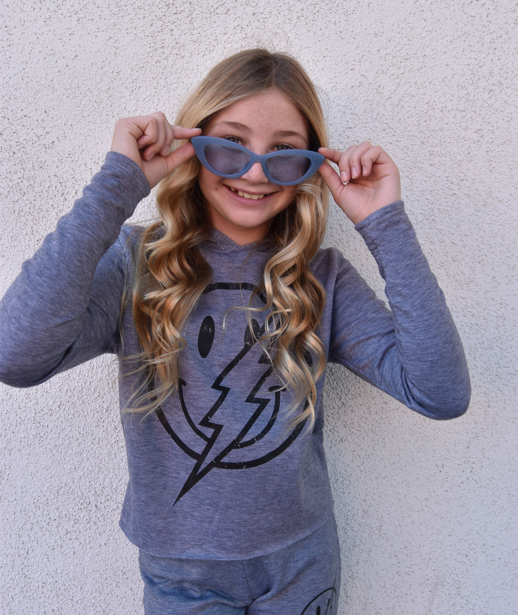 Firehouse Girls Heather Grey Smiley Bolt Pullover