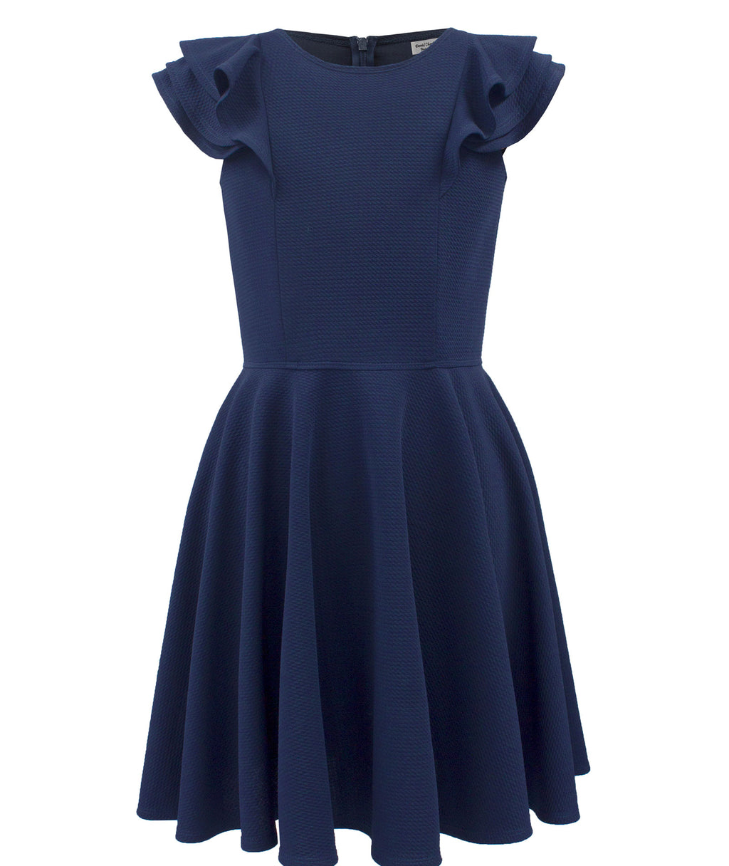 David Charles Girls Navy Ruffle Sleeve Dress