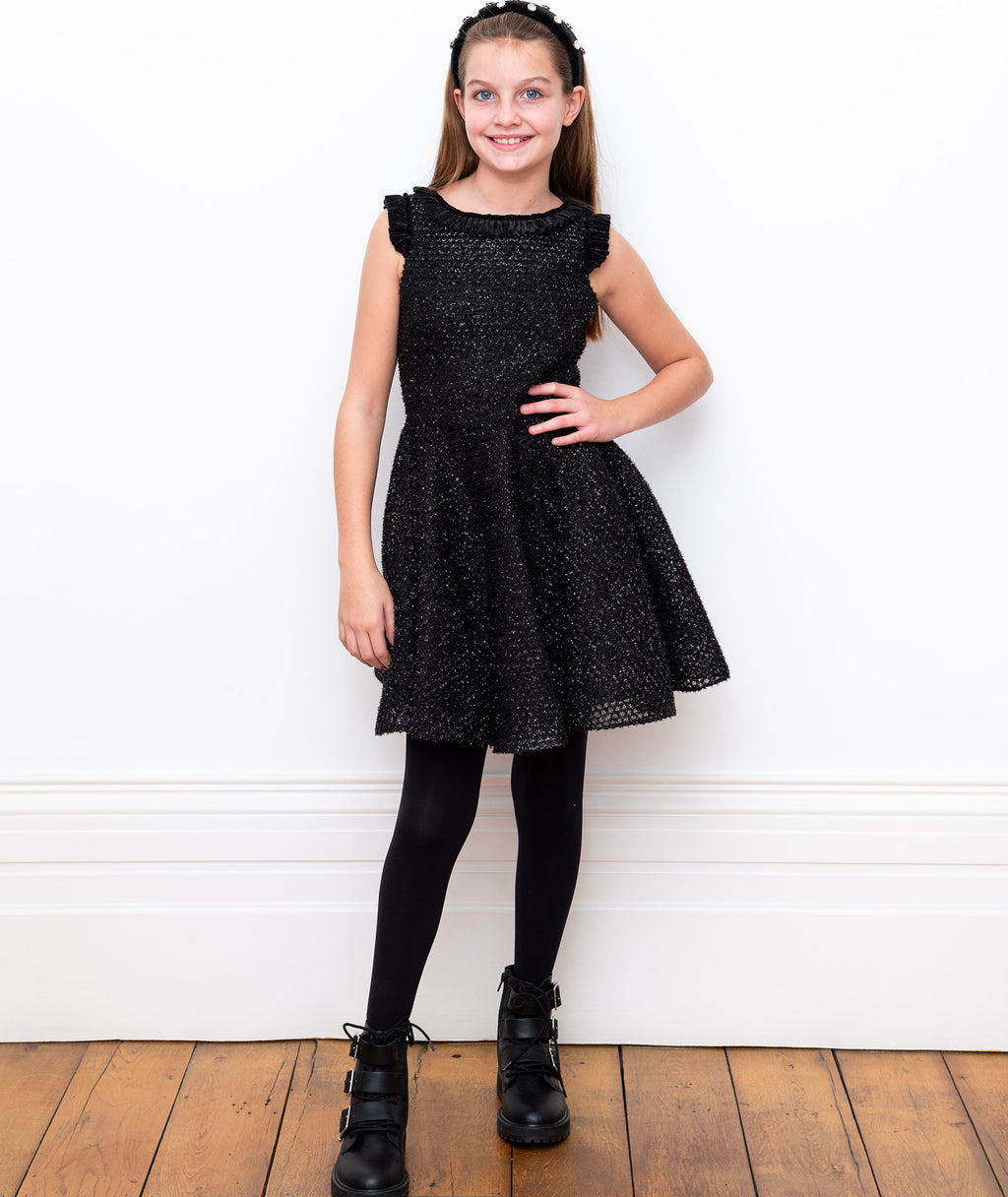 David Charles Girls Black Sparkle Ruffle Dress