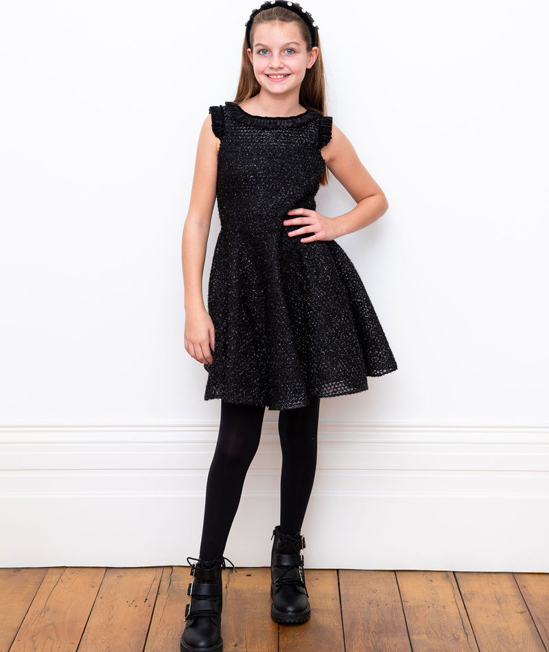 Un Deux Trois Girls Champagne and Silver Cap Sleeve Dress