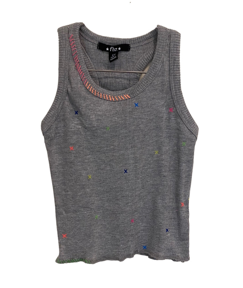 Flowers By Zoe Girls Embroidered Grey Tank