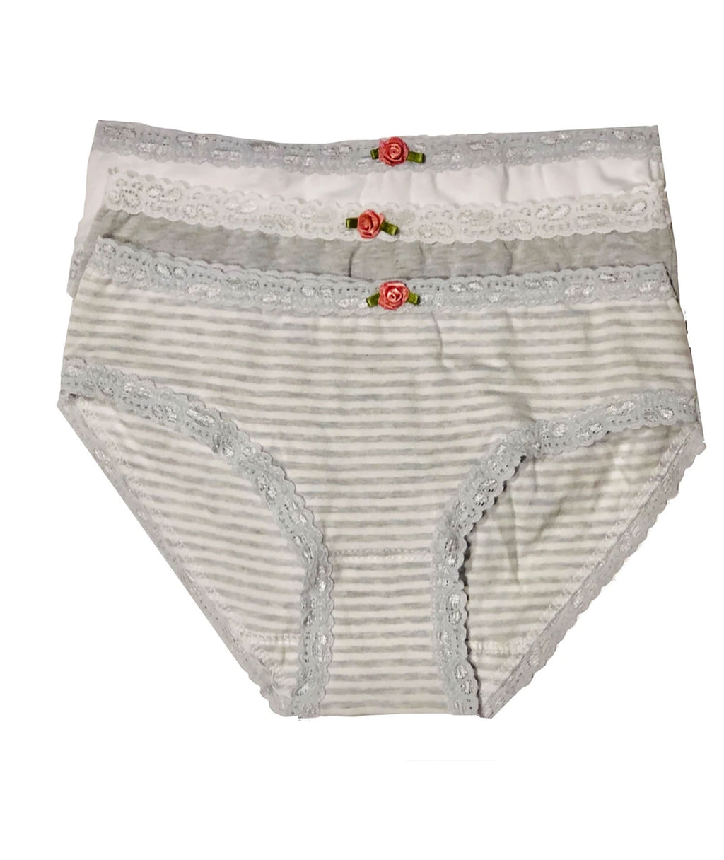 Esme Girls Blue Grey Stripe Pantie Set