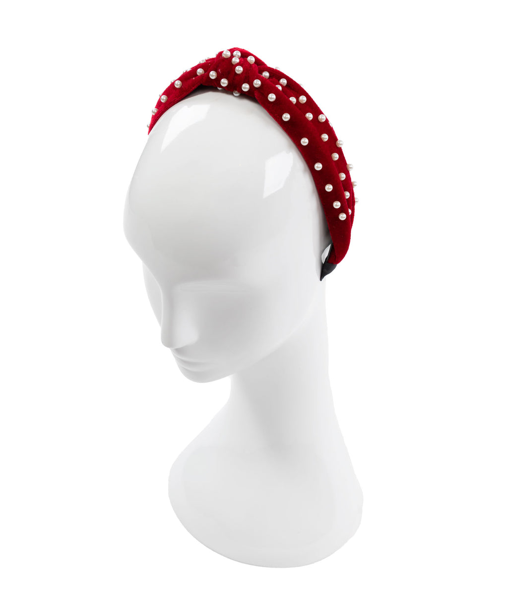 Fashionista J Red Pearl Headband