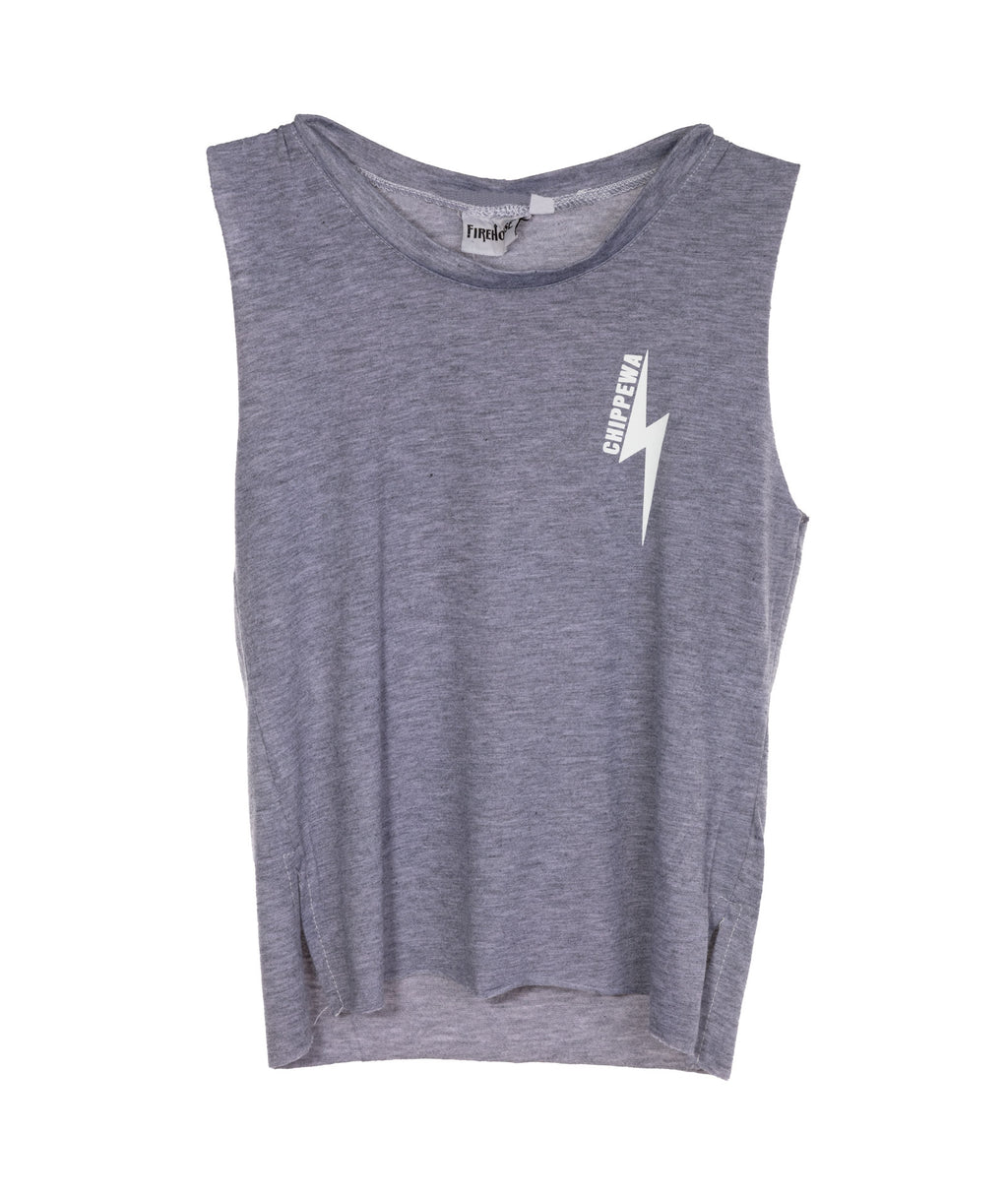 White Lightning Bolt Crop Tank Heather Grey