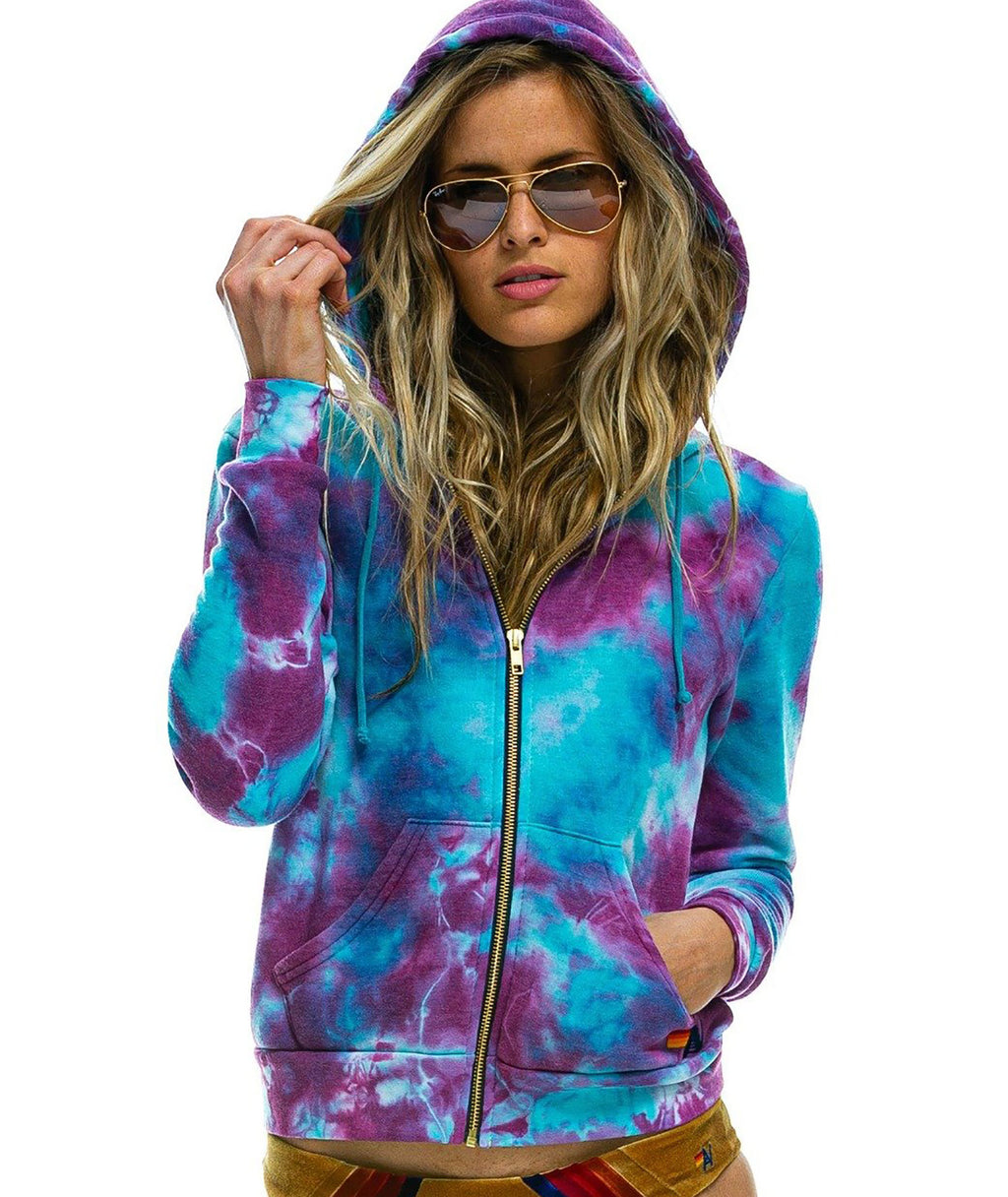Aviator Nation Women Turquoise Tie-Dye Zip Hoodie