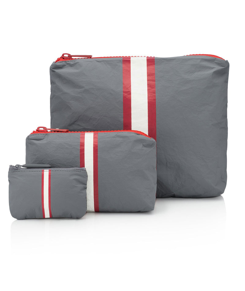 HI Love Travel Grey Red Stripe 3 Pack