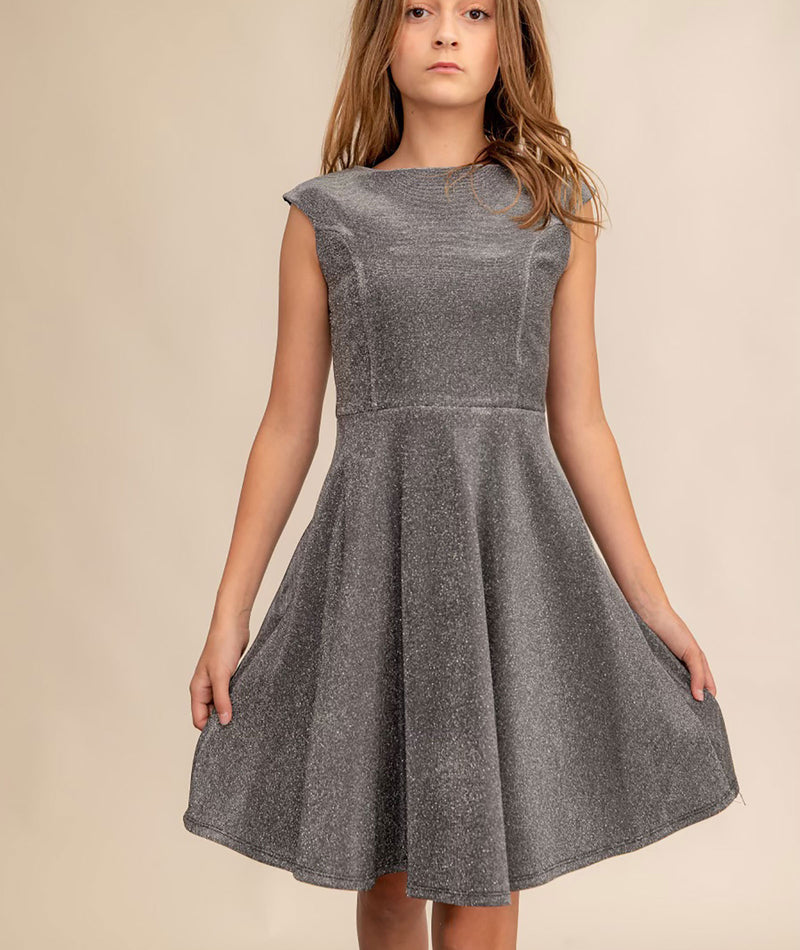 Un Deux Trois Girls Silver Sequin Dress