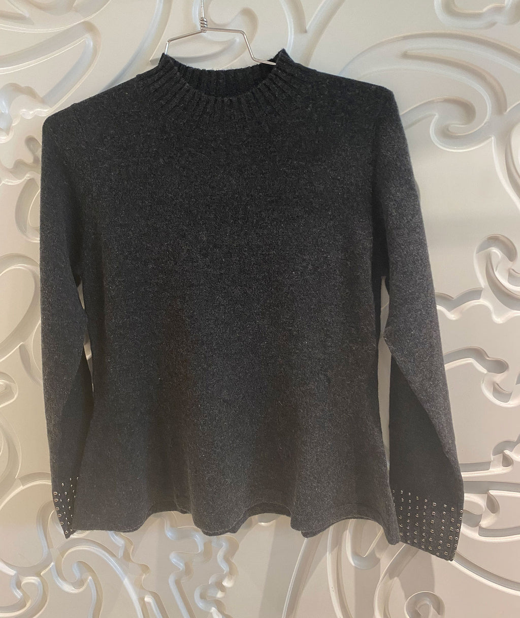 Autumn Cashmere Girls Peplum Charcoal Sweater