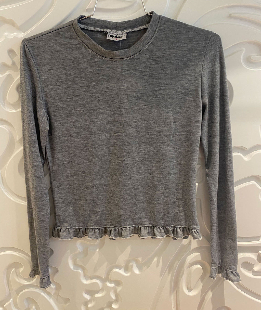 Firehouse Girls Heather Grey Ruffle Pearl Stitch Tee