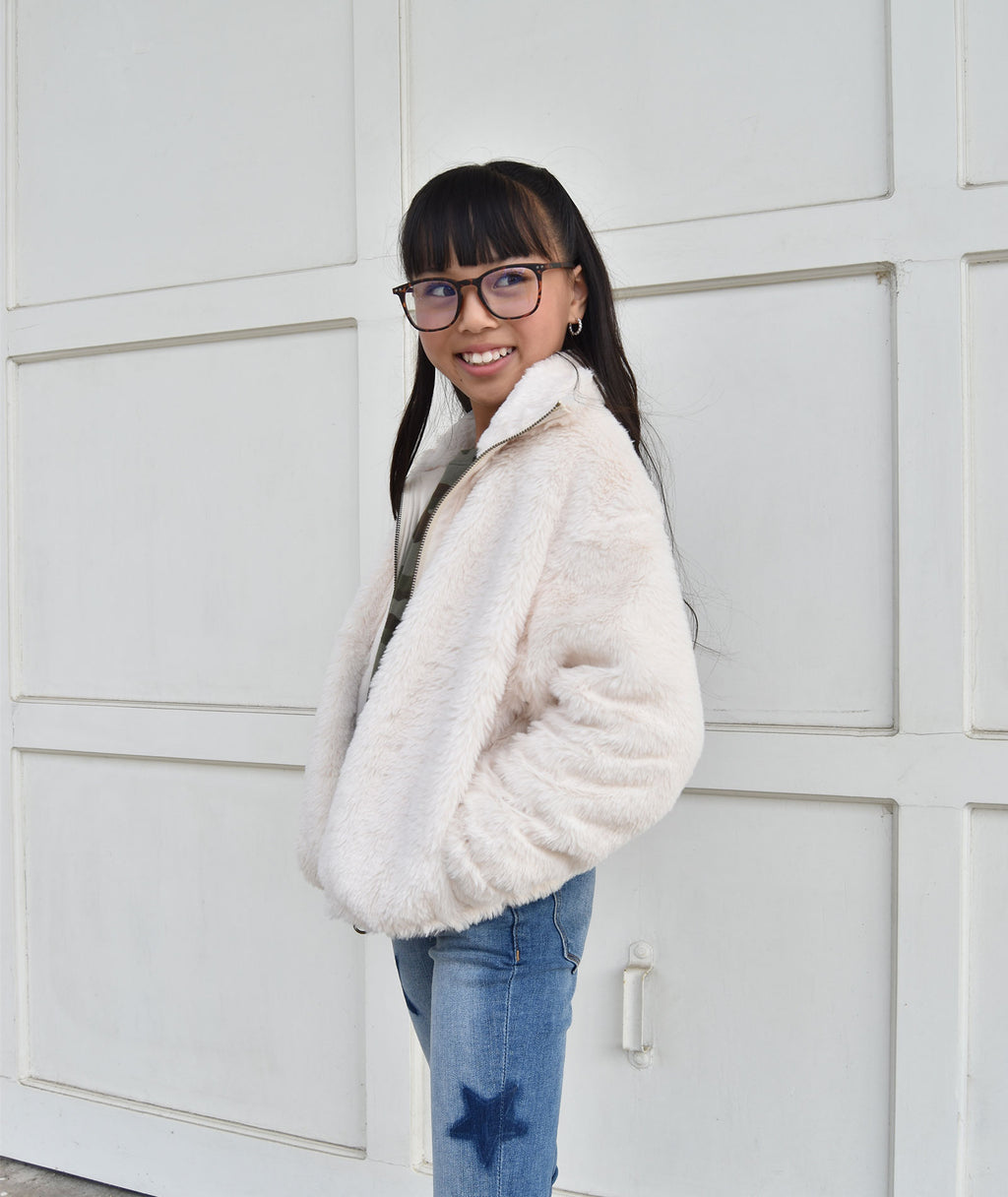 For All Seasons Girls Ivory Fuzzy Jacket