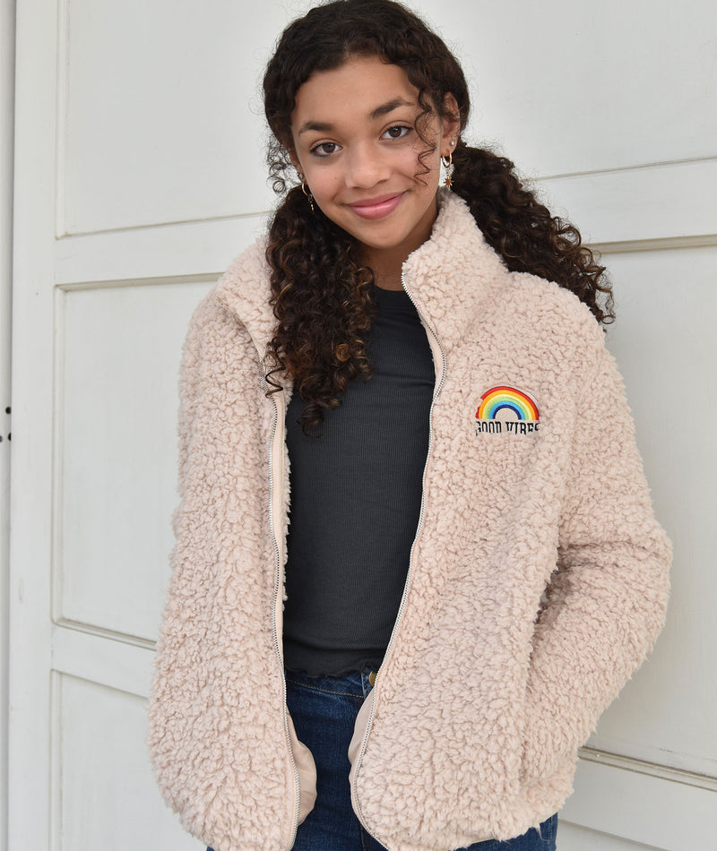 Sub_Urban Riot Girls Antique White Rainbow Teddy Jacket