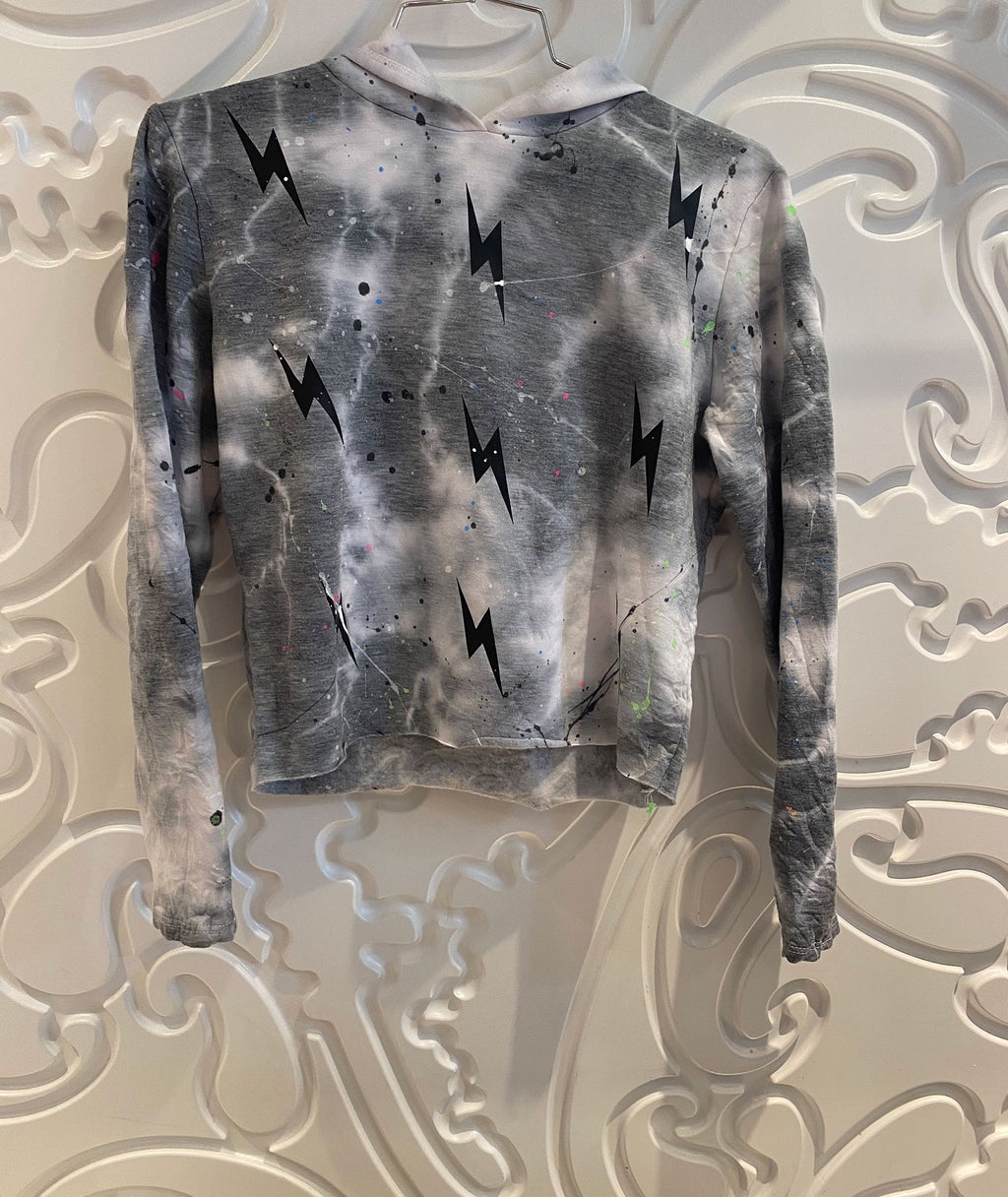Firehouse Girls Splatter Cloud Heather Grey Bolt Crop Hoodie