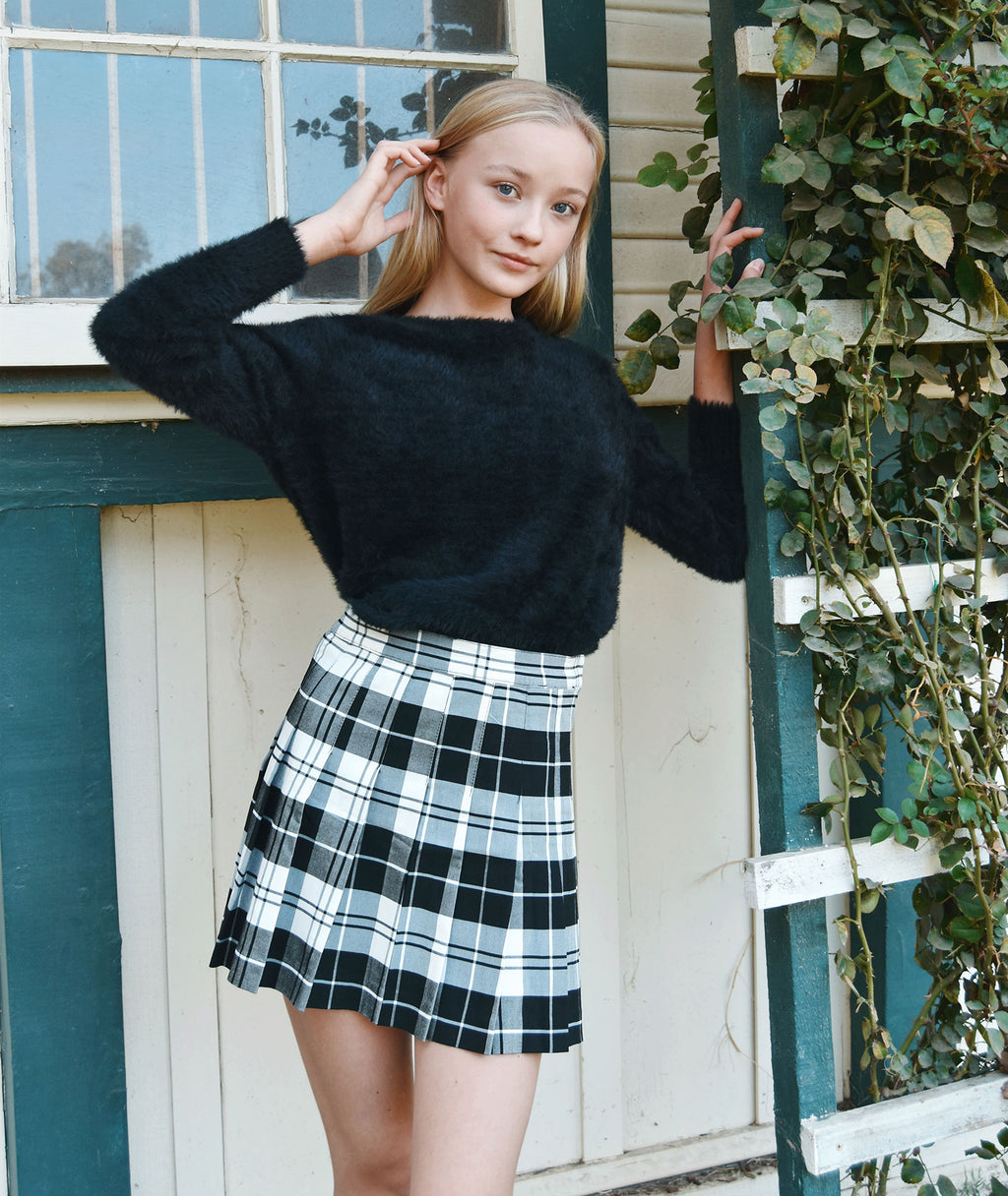 Venus Black Plaid Tennis Skirt Women