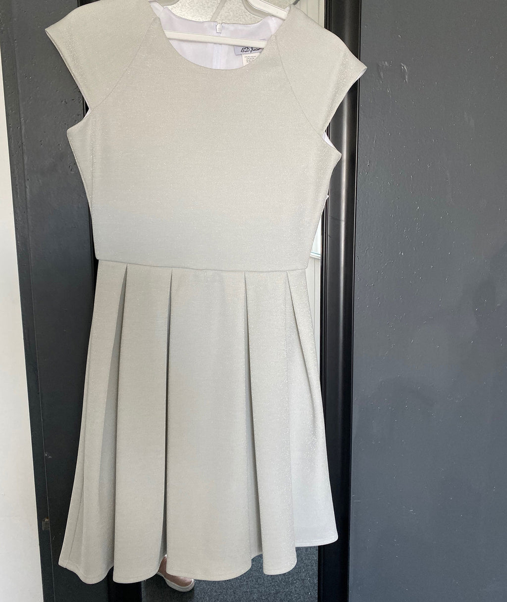 By Debra Girls White Silver Cap Sleeve Dress