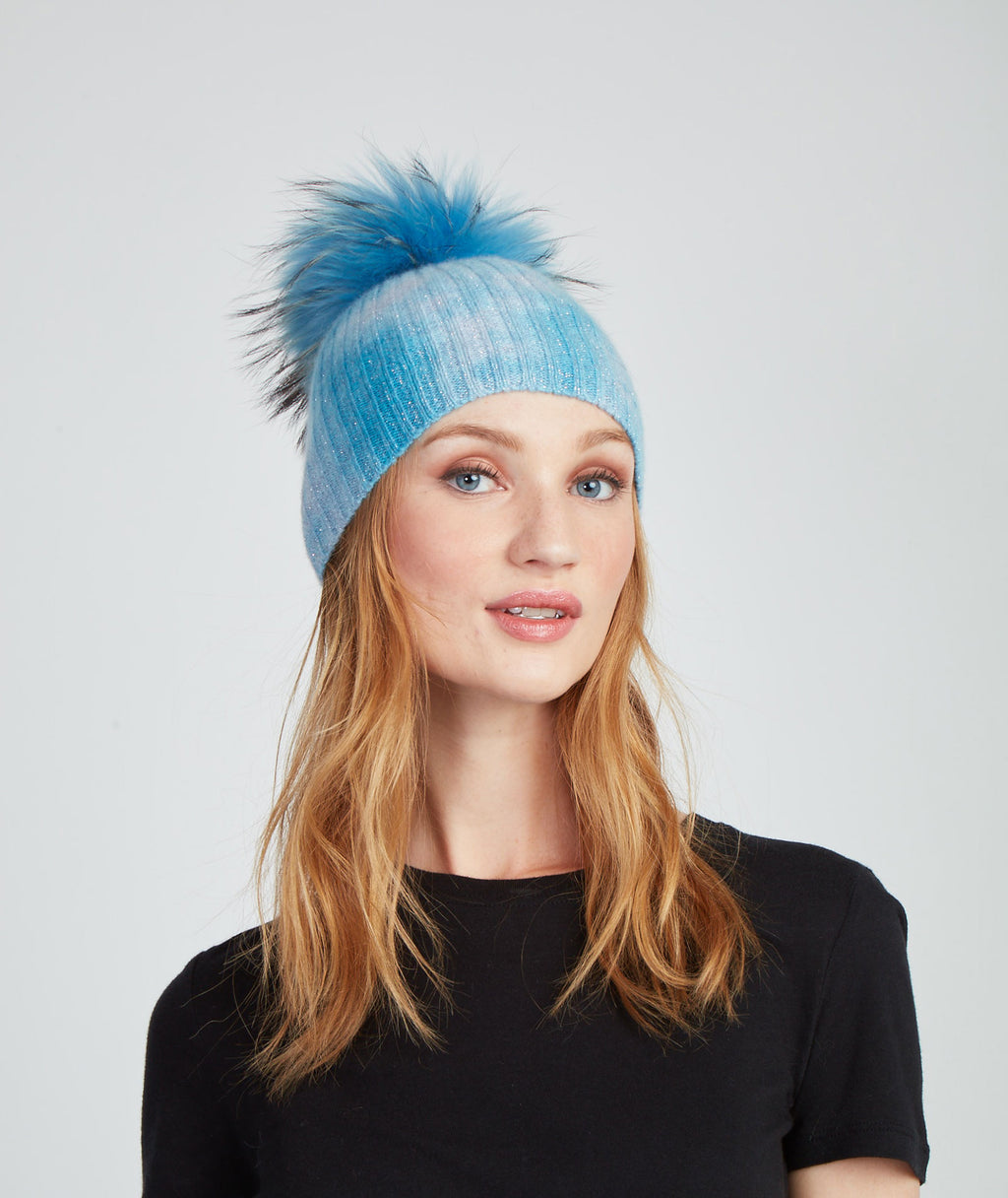Jocelyn Women Cashmere Hat With Fox Fur Pom