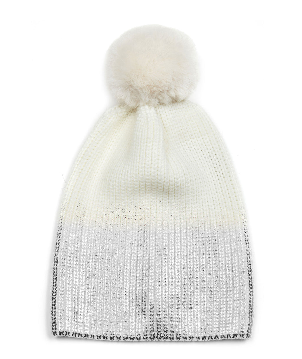 Jocelyn Women Knit Hat With Ombre Metallic/Faux Fur Pom
