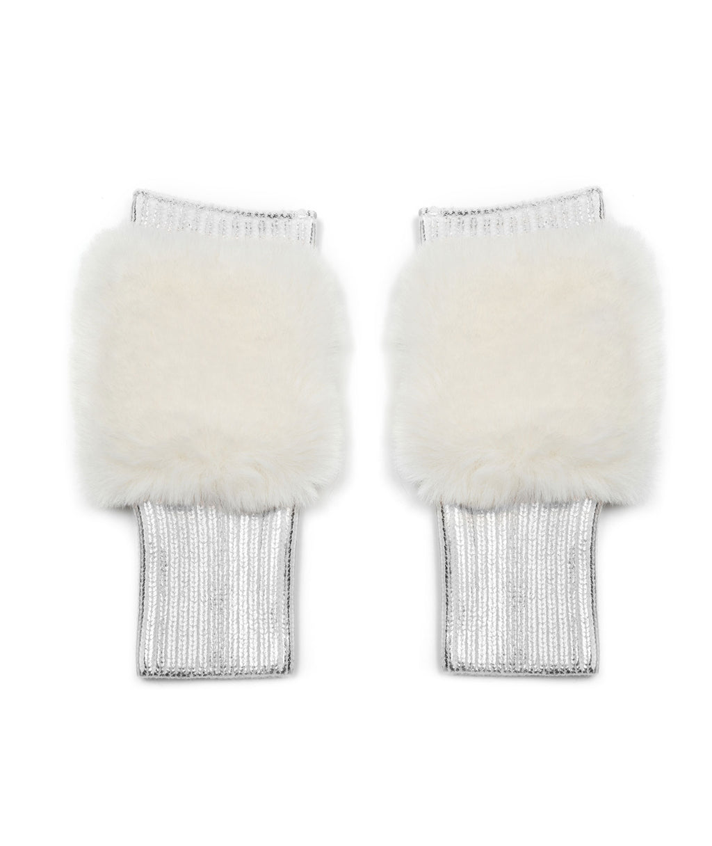 Jocelyn Women Metallic Mittens With Faux Fur