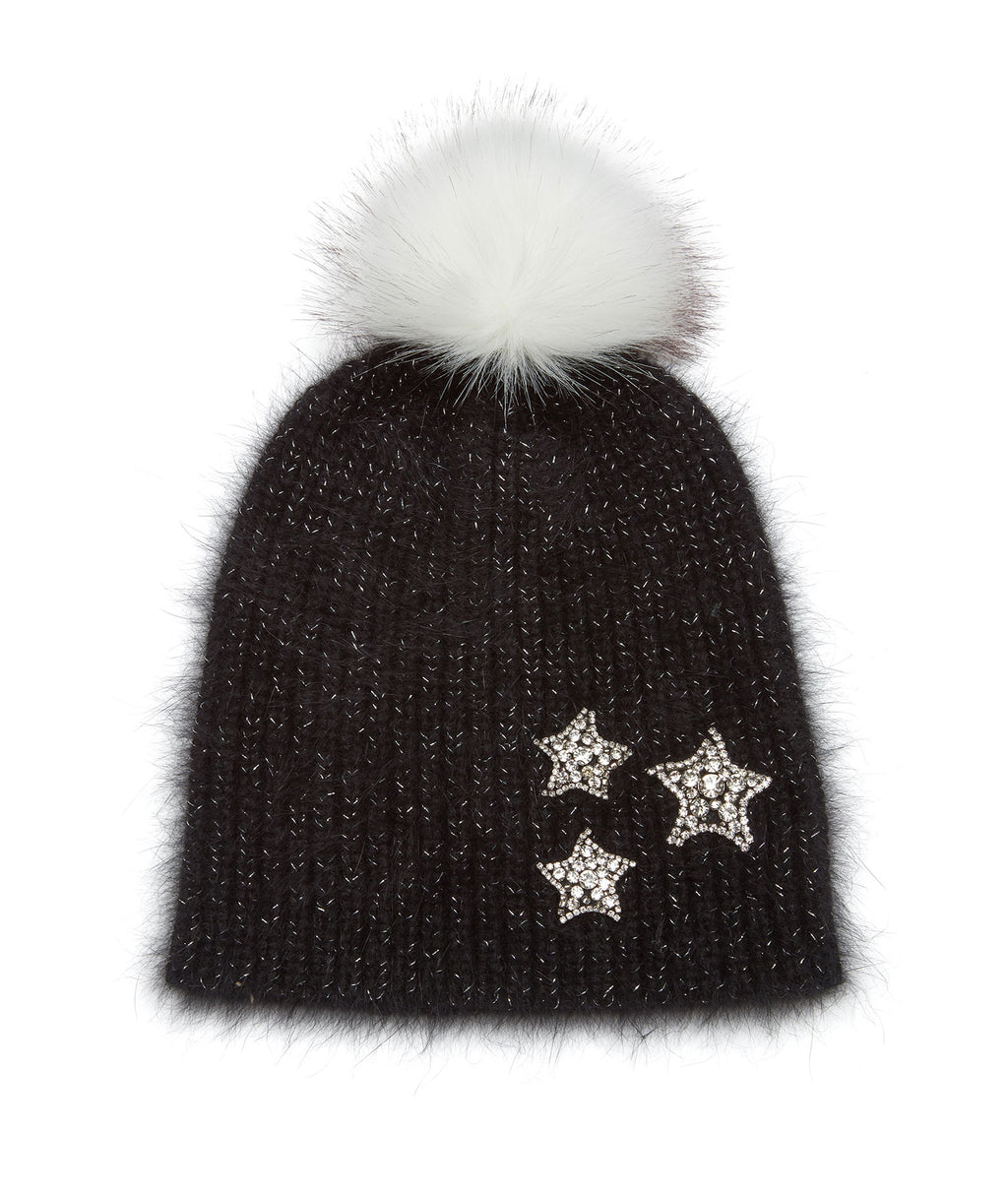 Jocelyn Women Black Knit Hat With Crystal Stars and Faux Fur Pom